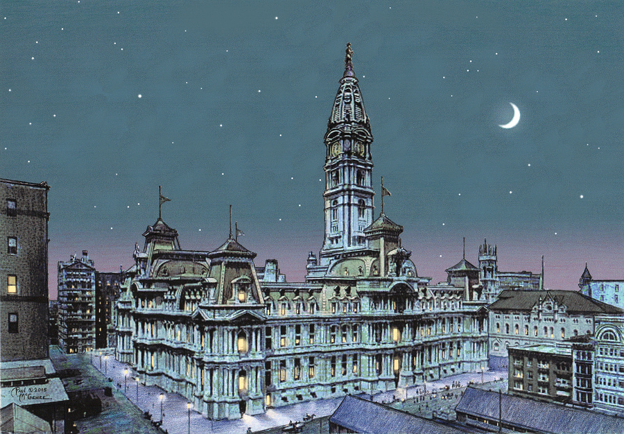 old philadelphia city hall by moonlight. Black Bedroom Furniture Sets. Home Design Ideas
